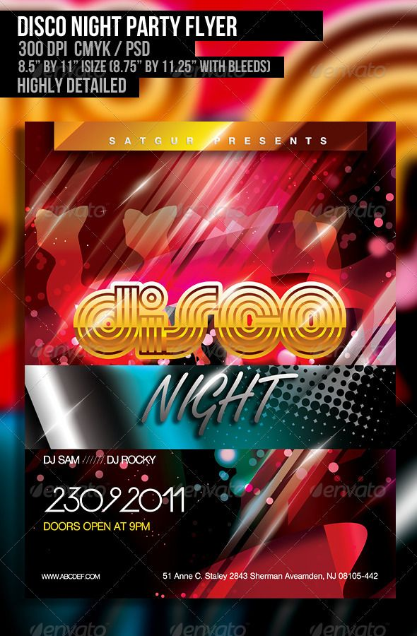 Disco Night Party Flyer  Disco Night Party Flyer And Night Parties