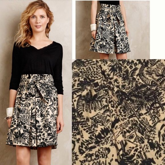 "COREY LYNN CALTER Palm Garden Skirt Village New COREY LYNN CALTER Rare ANTHROPOLOGIE Palm Garden Skirt 12 Village Print Bow   By Corey Lynn Calter Cotton;   polyester lining  A-line silhouette  Inverted pleat detail  Side pockets  Tied paperbag waist  Back zip  Dry clean  Imported  Style No. 4120024091533.   20"" from waistline Anthropologie Skirts Midi"