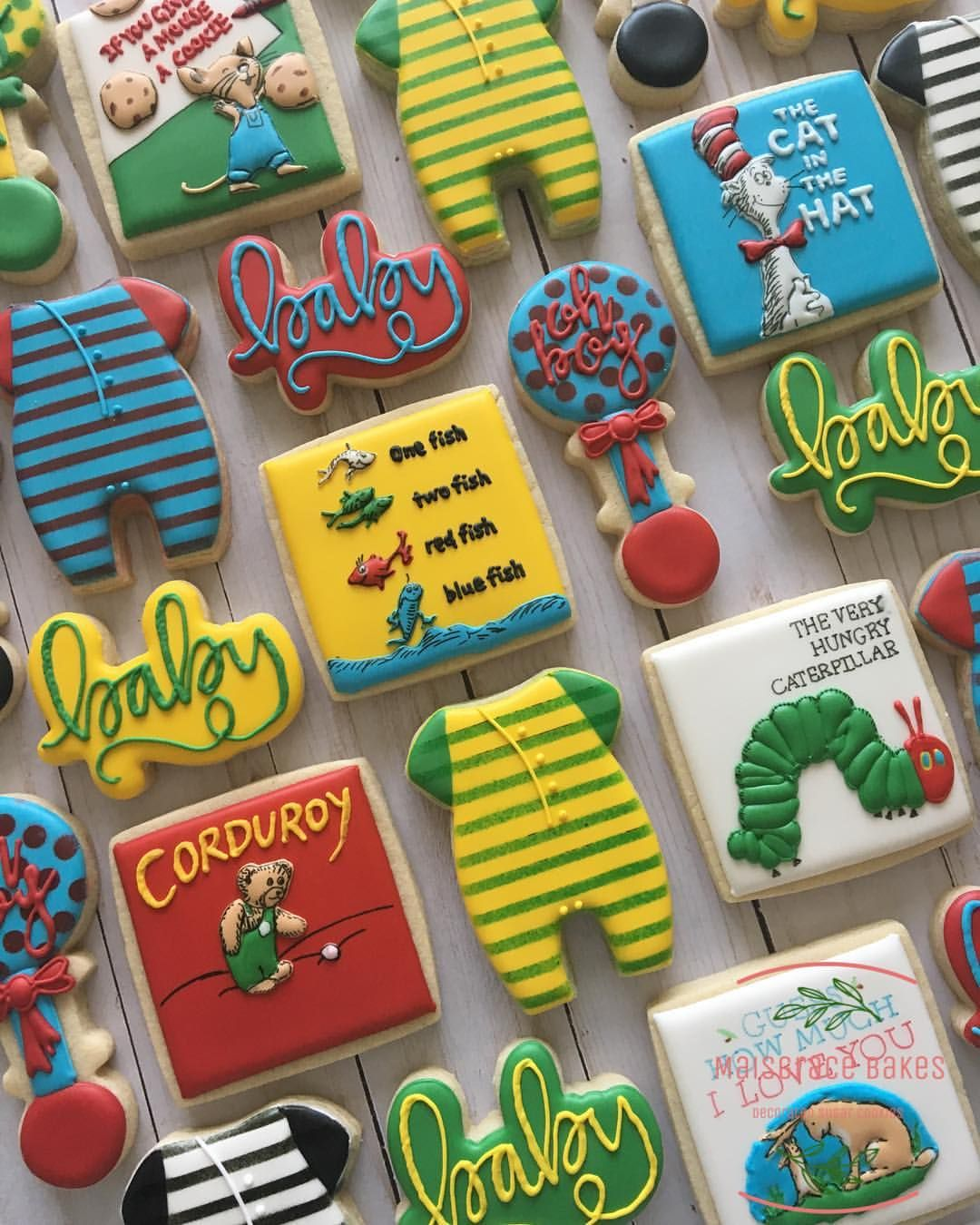 Colorful Cookies For A Book Themed Baby Shower These Were So Fun To Make Like Really Some Storybook Baby Shower Childrens Books Baby Shower Baby Shower Book