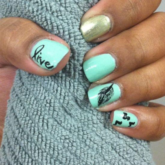 45 Cute Mint Nail Art Ideas for Summer   Nail Design Ideaz - 45 Cute Mint Nail Art Ideas For Summer Nail Design Ideaz Nails