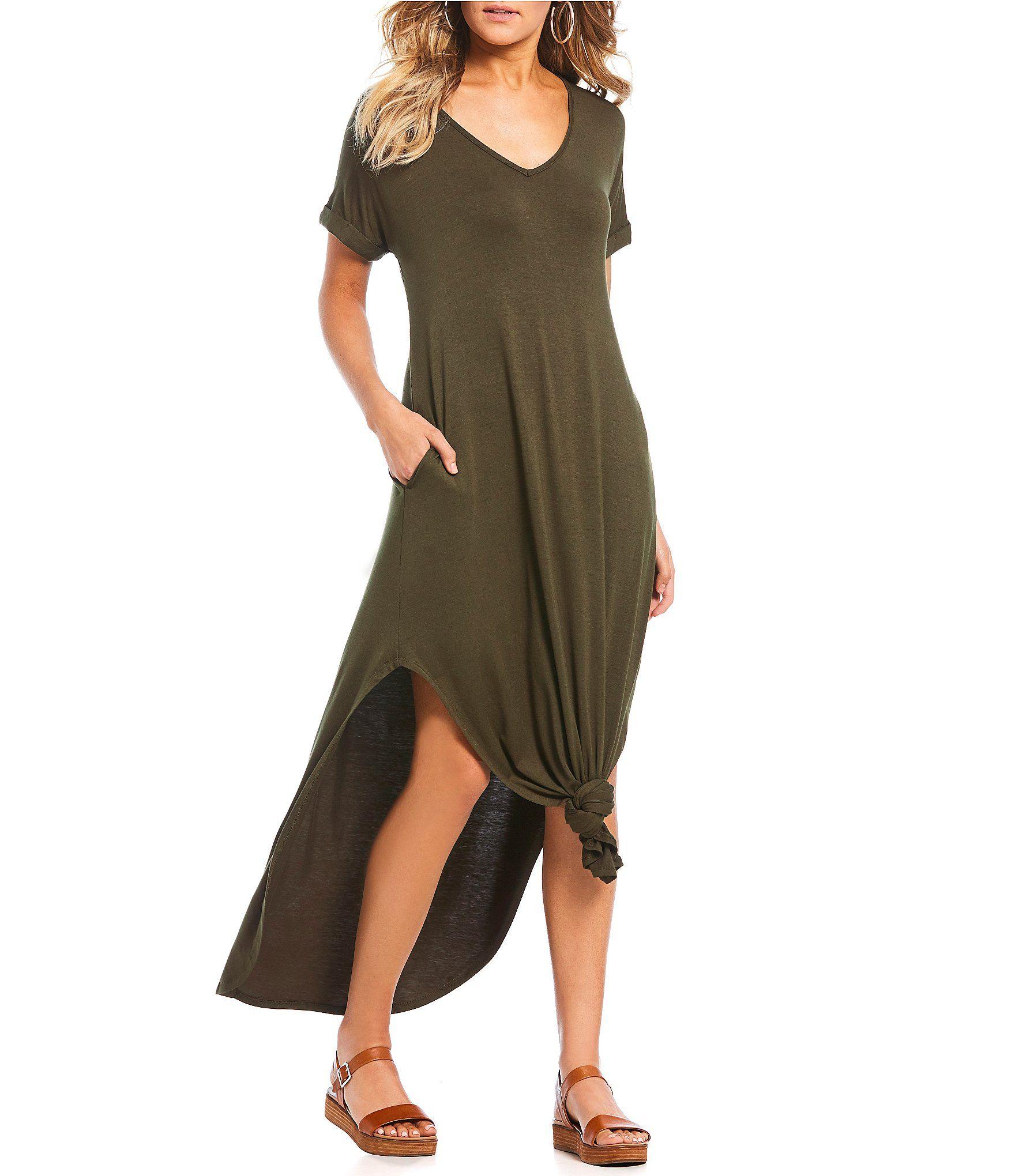 Stilletto's Oversized T-Shirt V-Neck Maxi Dress   Dillard's in ...