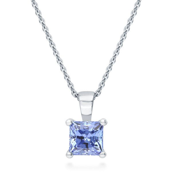 Silver 1.24 CT Princess Blue Swarovski Zirconia Solitaire Pendant... ($29) ❤ liked on Polyvore featuring jewelry, necklaces, blue, pendant necklace, women's accessories, blue jewelry, silver pendants, pendant chain necklace, fancy necklace and blue necklace
