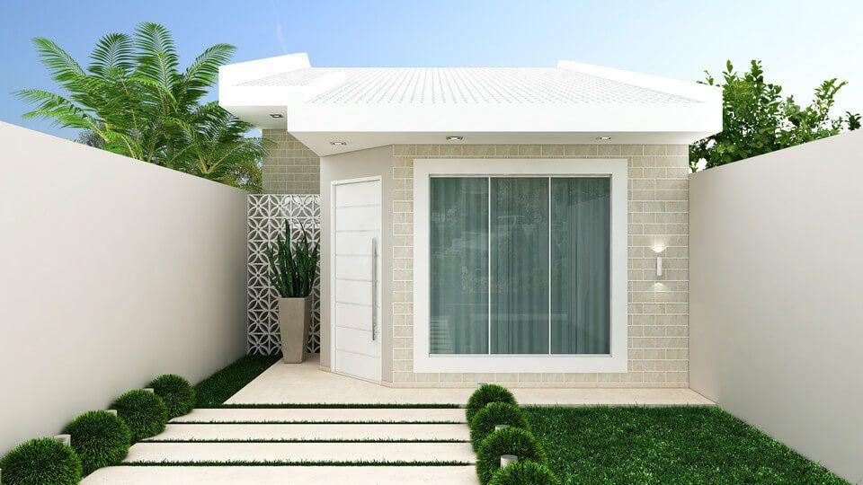 Fachada en cemento casa peque a dise o en 2019 casas for Fachadas de casas bonitas y economicas