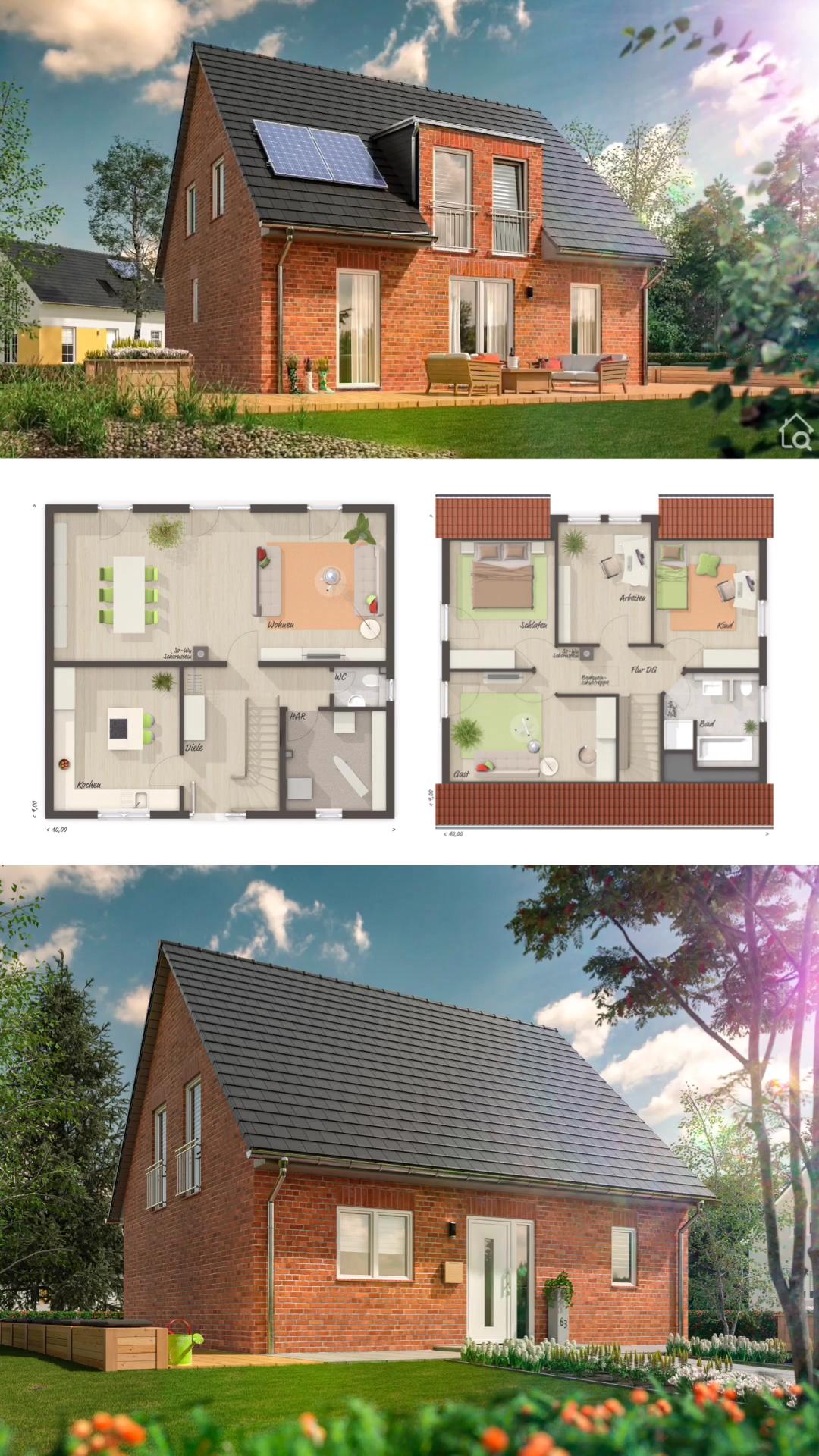 Photo of Einfamilienhaus mit klassischem Satteldach & Klinker Fassade, Haus Ideen mit 5 Zimmer Grundriss