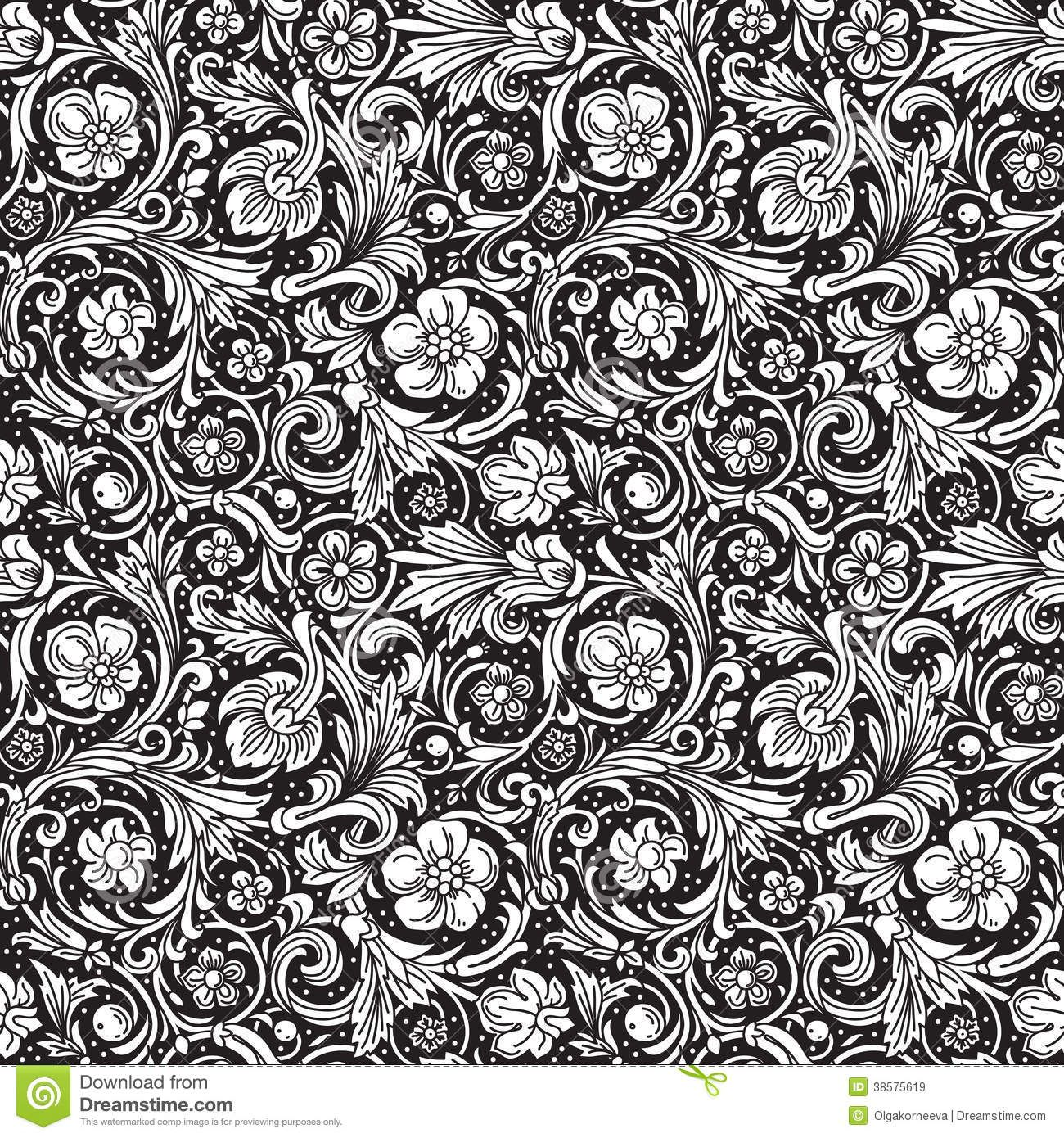 Black And White Ornamental Seamless Vector Pattern Stock Vector Illustration 38575619 Vector Pattern Black Wall Art Baroque