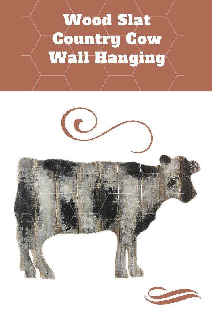 Wood slat cow wall art antiqued black and white wood slats cow