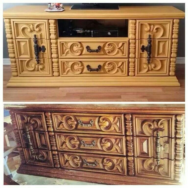 bronze dresser chunky ornate vintage dresser turned into a media center mustard