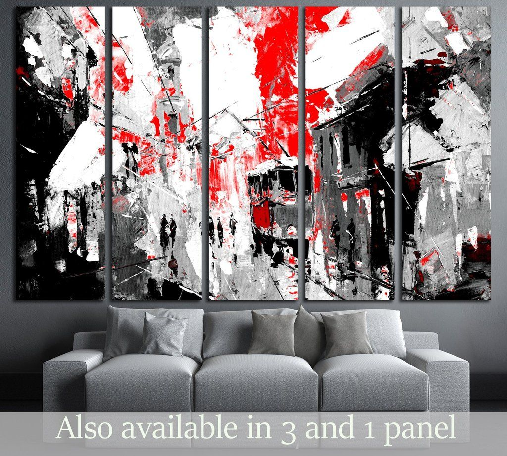 Urban City Life Sin City Inspiration Black And Red Color 3233 Ready To Hang Canvas Print Canvas Print Zella Framed Canvas Art Oversized Wall Art Artwork