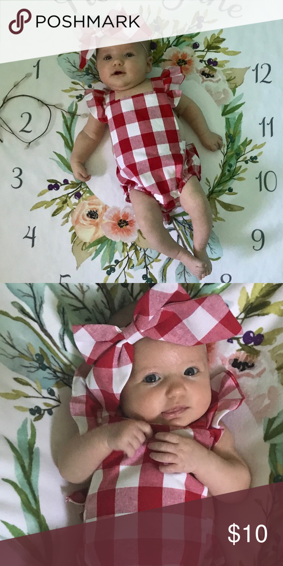 658b6064c9c Boutique One Piece Red and White checkered romper with open back and giant  bow on the back. Headpiece is a broach type clip that I pinned to a  headband.