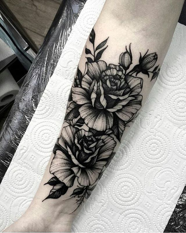 a9bf9322373a5 Blackwork floral forearm tattoo by @dmitriy.tkach | Ink ...