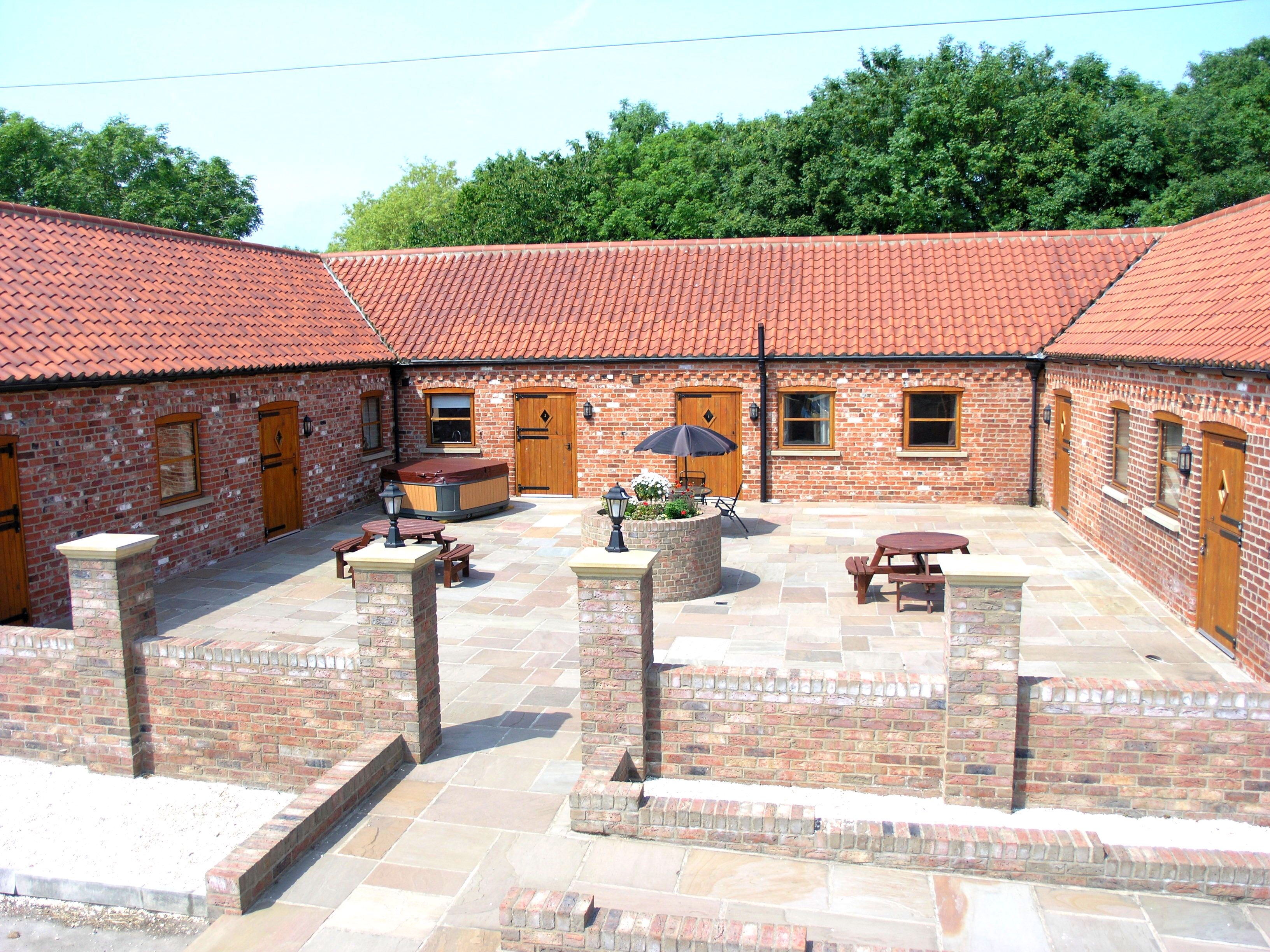 Westfield Courtyard Cottages Luxury Group Self Catering Accommodation In Yorkshire Sleeps Up To 10 With Outdoor Hot Cottage Indoor Hot Tub Courtyard