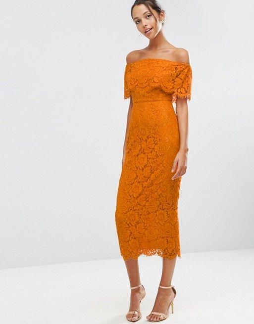 ASOS Lace Crop Top Midi Bardot Pencil Dress  26e5c3998