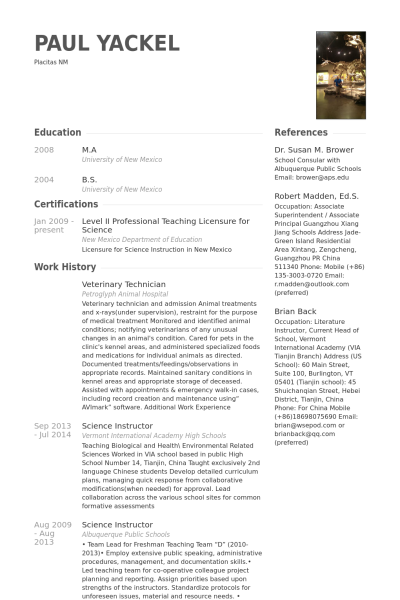 Veterinary Resume 12 Veterinary Technician Resume Samples  Riez Sample Resumes
