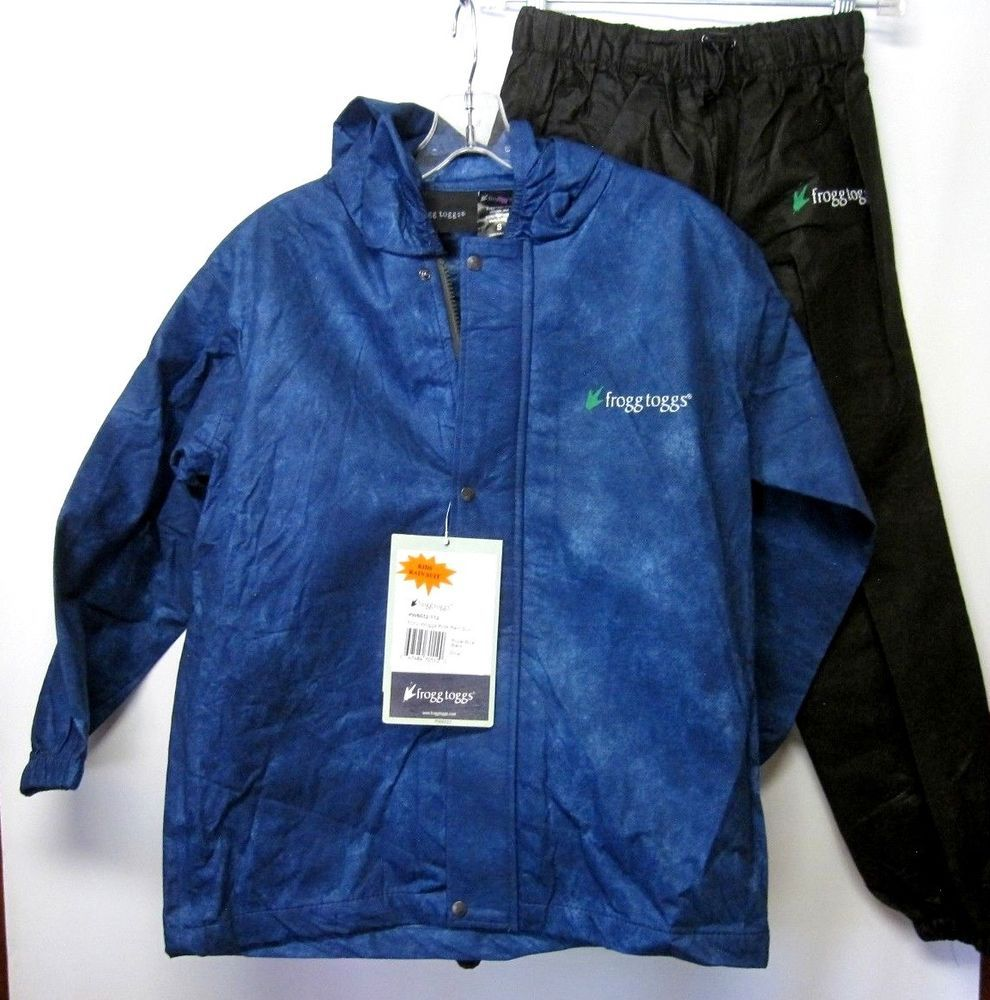 f19a5e871626 FROGG TOGGS Polly Woggs Kids RAIN SUIT Hi-Vis NAVY JACKET+Black PANTS NEW
