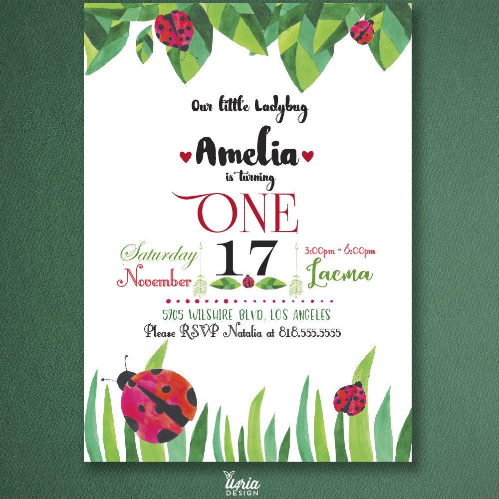 LadyBug Party Invitation. Kids Ladybug Birthday Invite. Watercolor ...