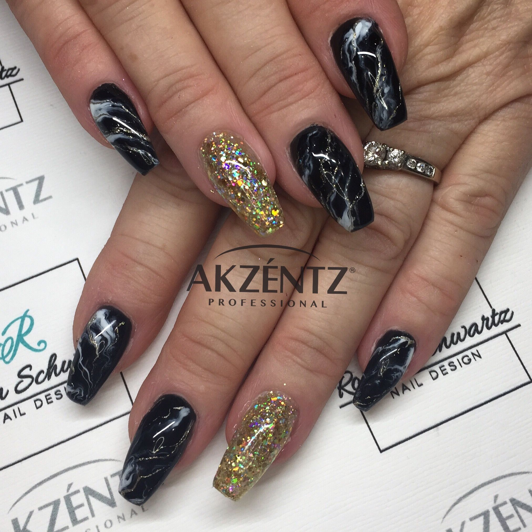 Black marble and gold glitter coffin gel nails | Blingy Nails ...