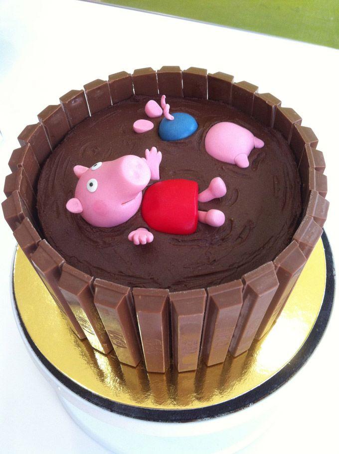 Pastel De Peppa Pig En Charca De Chocolate Pastel De Peppa Pig Tartas Pasteleria