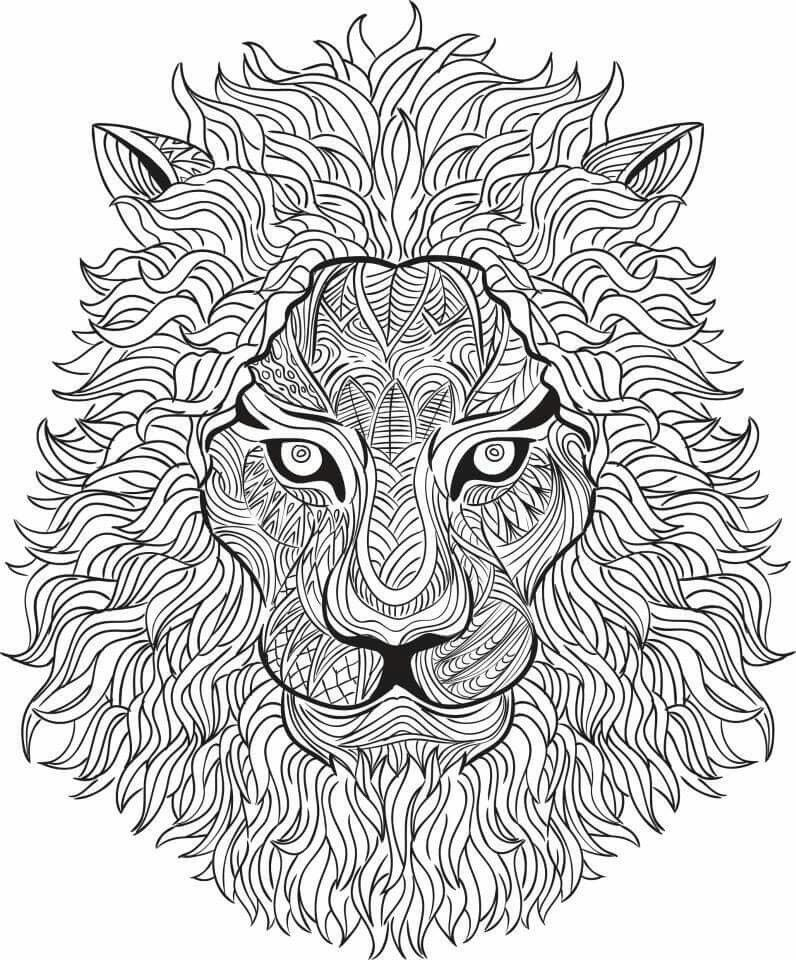 Free coloring page coloring adult lion head Colouring pages