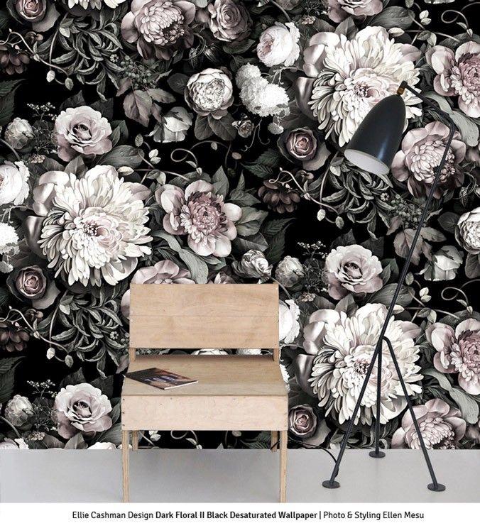 Dark Floral II Black Desaturated Sample Floral Wallpaper
