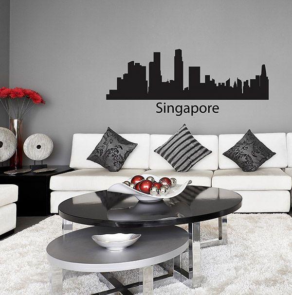Places singapore skyline wall sticker seattle decal vinyl car bedroom kitchen art city