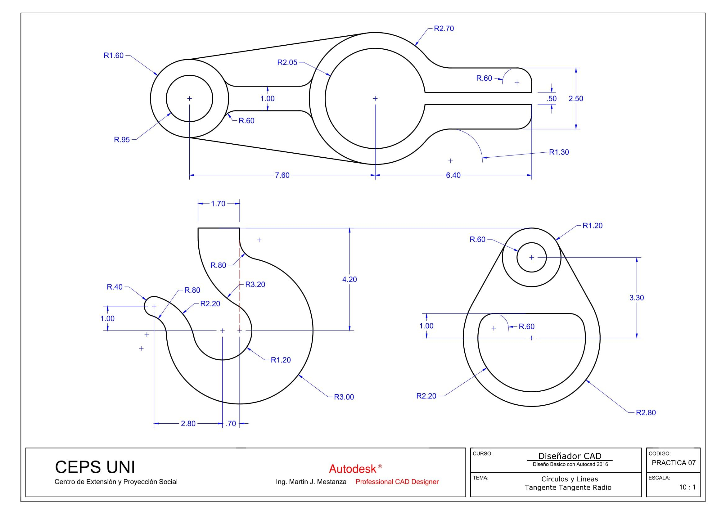 Practica De Clase Nº 07 Autocad Drawing Interesting Drawings Technical Drawing