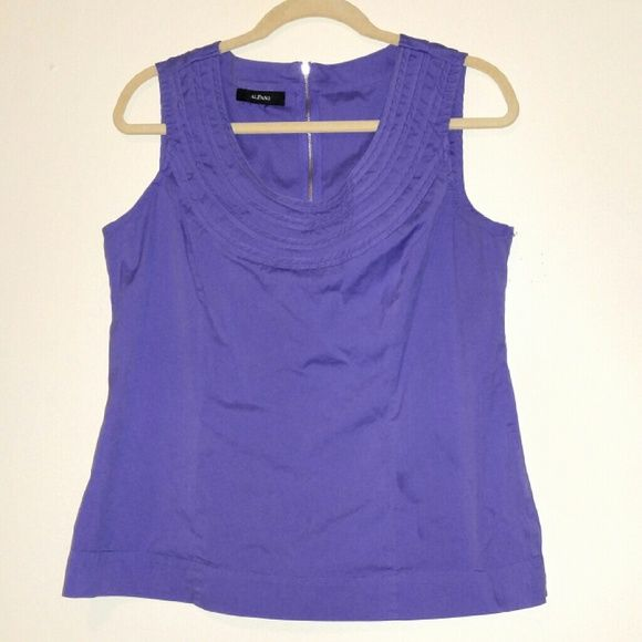 Purple sleeveless blouse Very flattering and beautiful. Has a zipper in the back of the neck and is form fitting. Tops