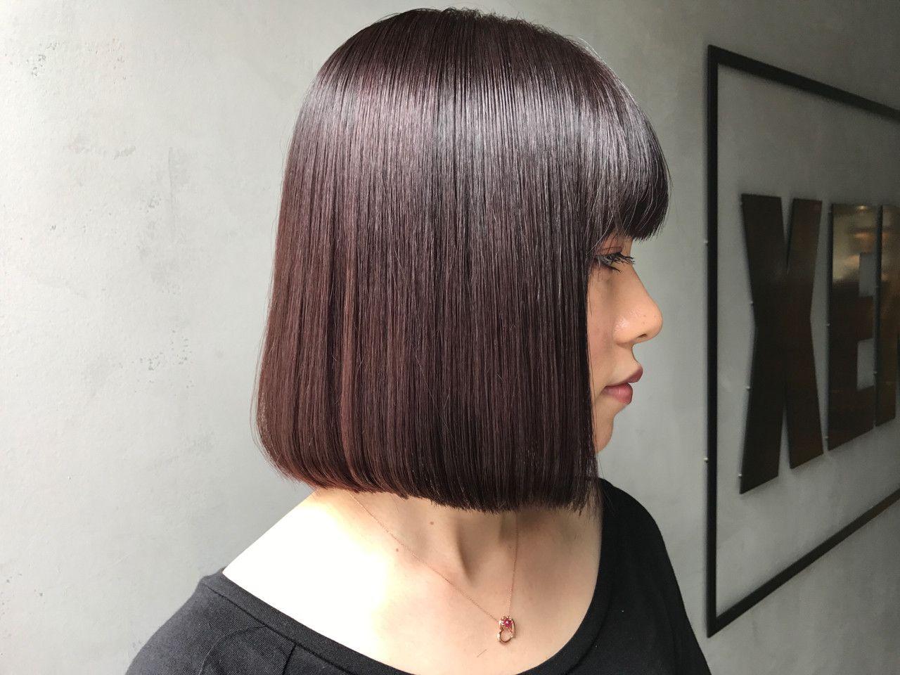ワンレングス 切りっぱなし 暗髪 ボブ フリーランス Xena Miya 1031miya 321083 Hair ボブヘア 薄毛 美髪