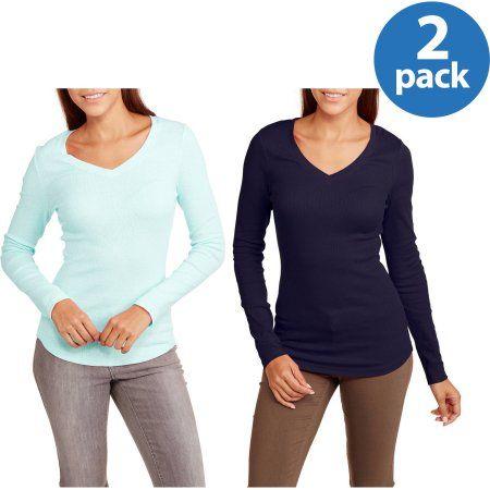242339a0719c No Boundaries Juniors  Long Sleeve V-Neck Tee 2 Pack