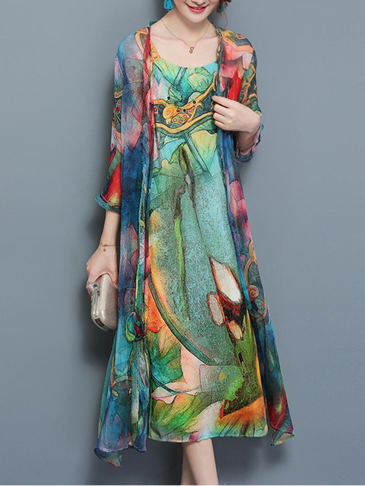 Gracila Vintage Women Two Pieces Set Straps 3 4 Sleeve Print Dresses -  Banggood Mobile b7d96c22f