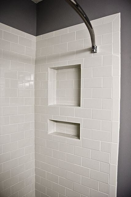 White Subway Tile Featuring Shower Niche And Bullnose Edge Tile