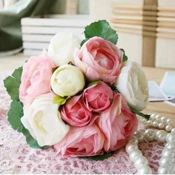 Pas cher 10 bourgeons 1 bouquet rose fleur artificielle for Bouquet pas cher livraison gratuite