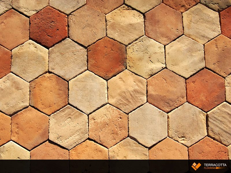 Hexagon Antique Reclaimed Terracotta Floor Tile Reclaimed