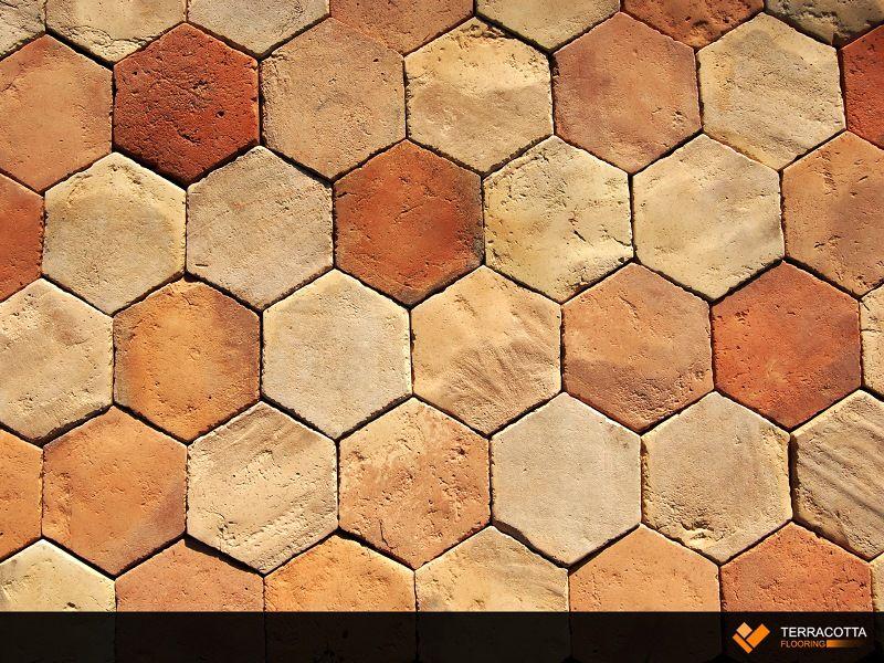 Hexagon Antique Reclaimed Terracotta Floor Tile Reclaimed