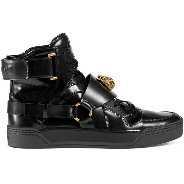 black gucci shoes for men high tops. gucci leather high-top sneaker with feline ($885) ❤ liked on polyvore featuring black shoes for men high tops m