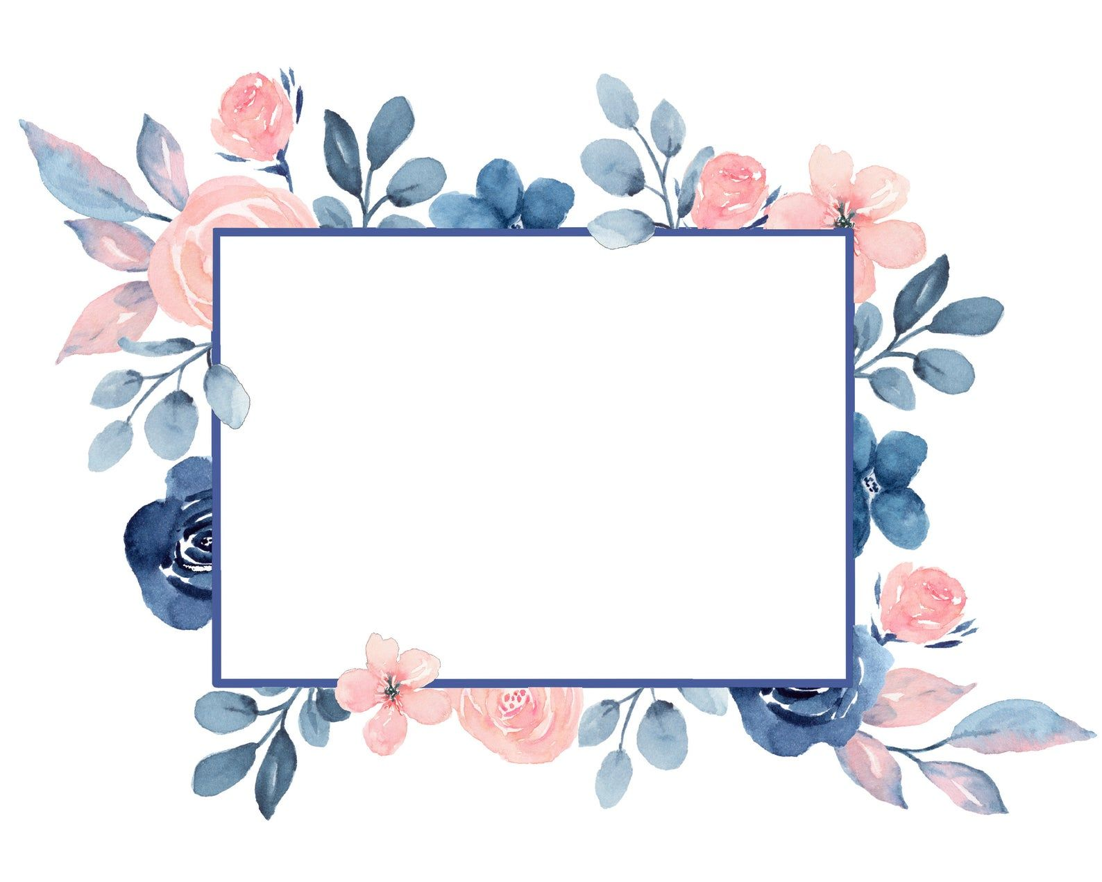 Blush & Navy wreaths and frames, Border design, Square frames, Pink and Blue Wreaths, Wedding Invitation, Baby Shower