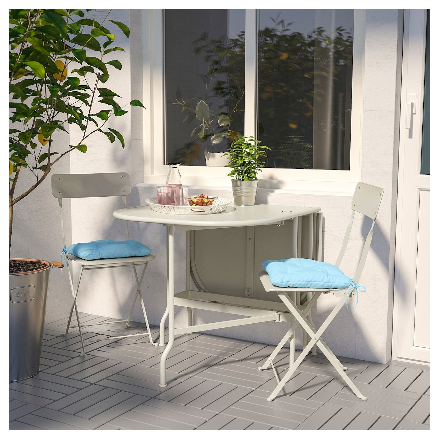 Ikea Sedie Giardino Pieghevoli.Saltholmen Tavolo 2 Sedie Pieghevoli Giardino Beige Kuddarna