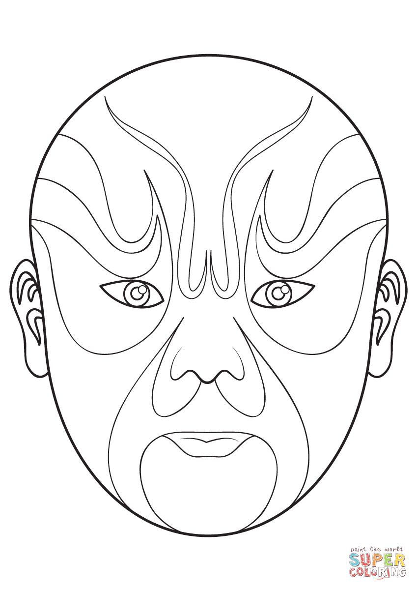 Chinese Opera Mask 5 Super Coloring Chinese Opera Mask Opera Mask Chinese Opera