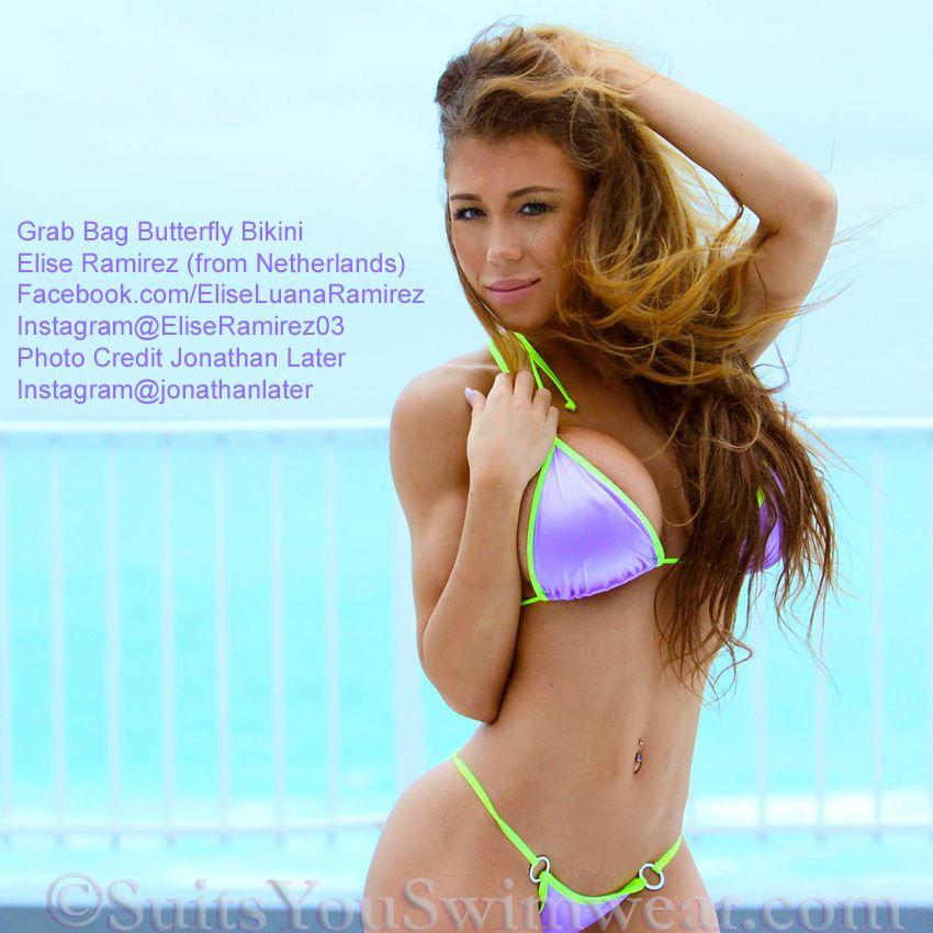 7d507b08ab8 Elise Ramirez wearing a Sale Bikini, Grab Bag Special, save 50% to 65% off  butterfly bikinis.