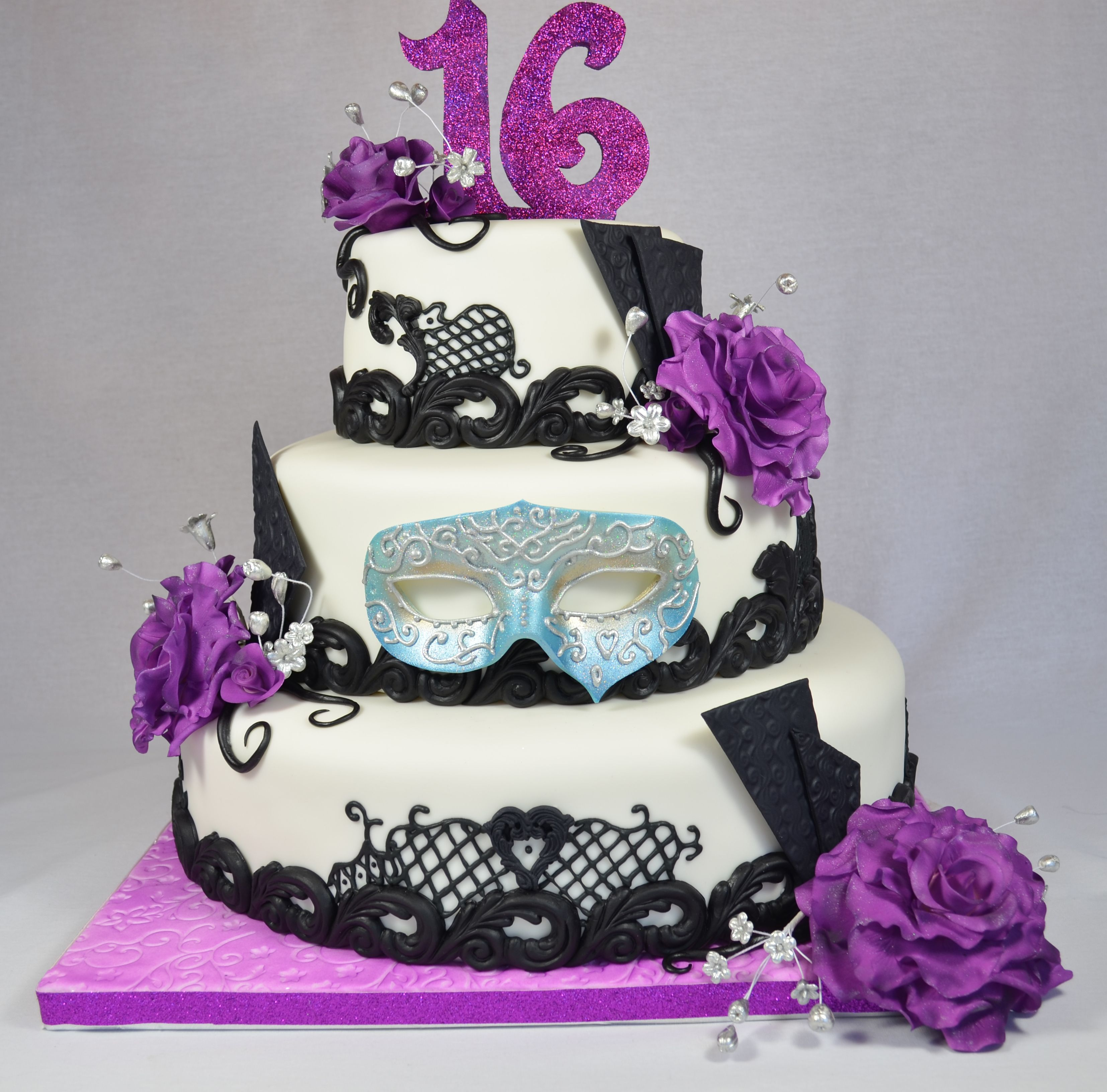 Masquerade Cake In Purple Black And Blue Black Lace Royal Icing