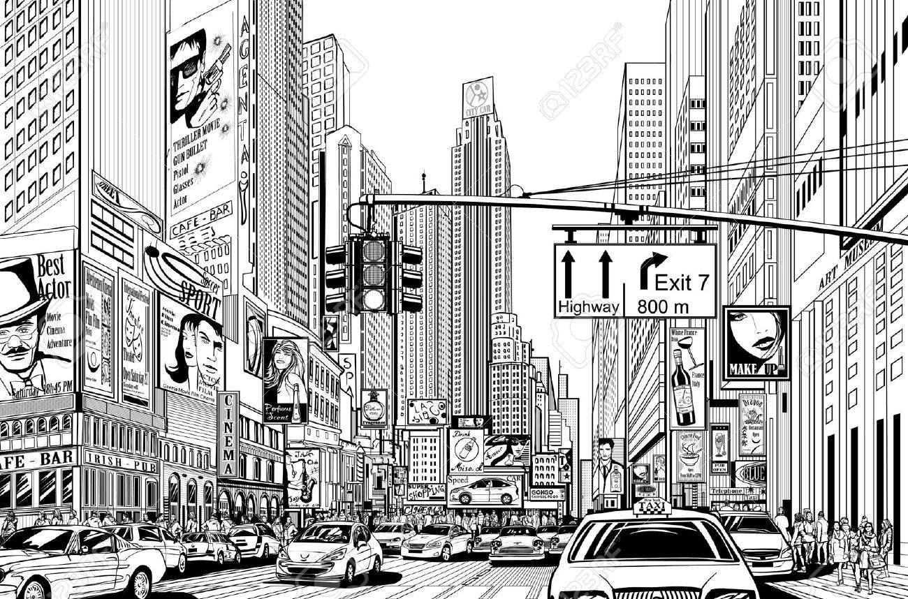 Line Art Mural : Illustration of a street in new york city royalty free