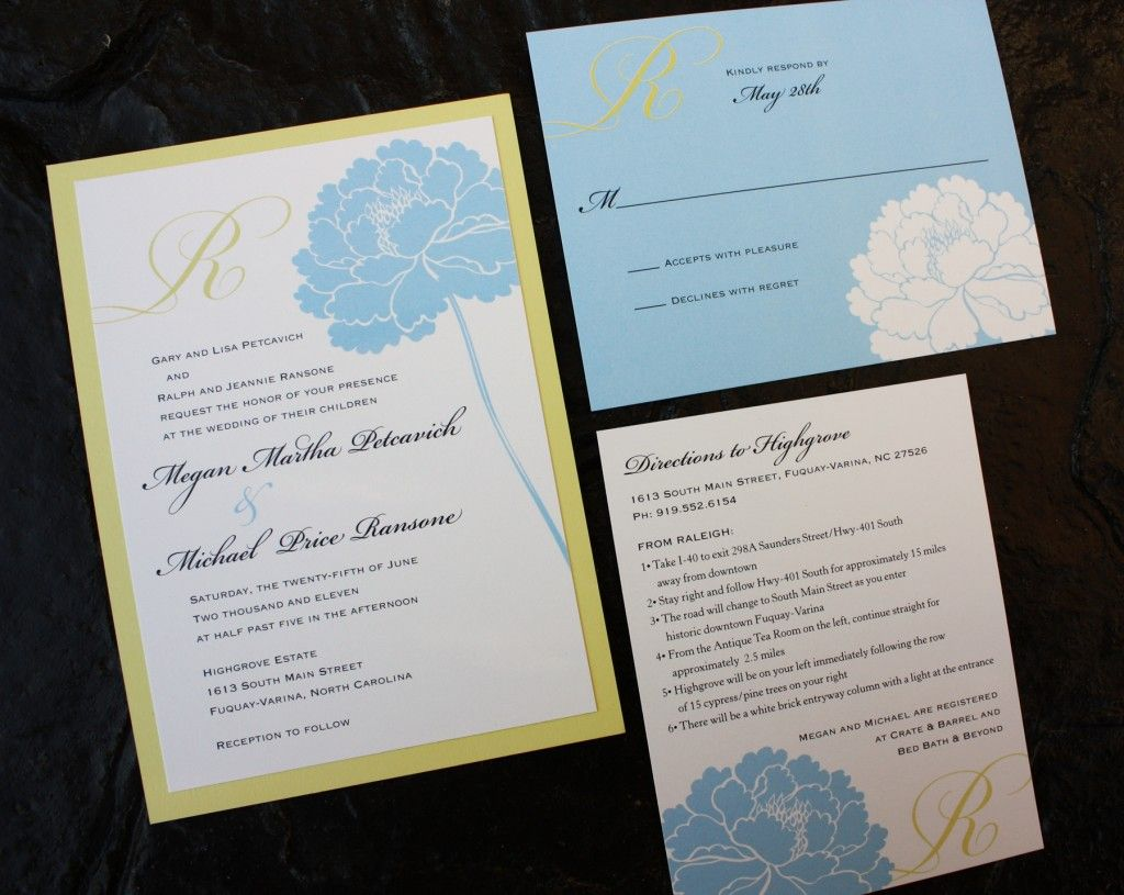 Blue And Yellow Wedding Invitations: Baby Blue And Yellow Wedding Invitations