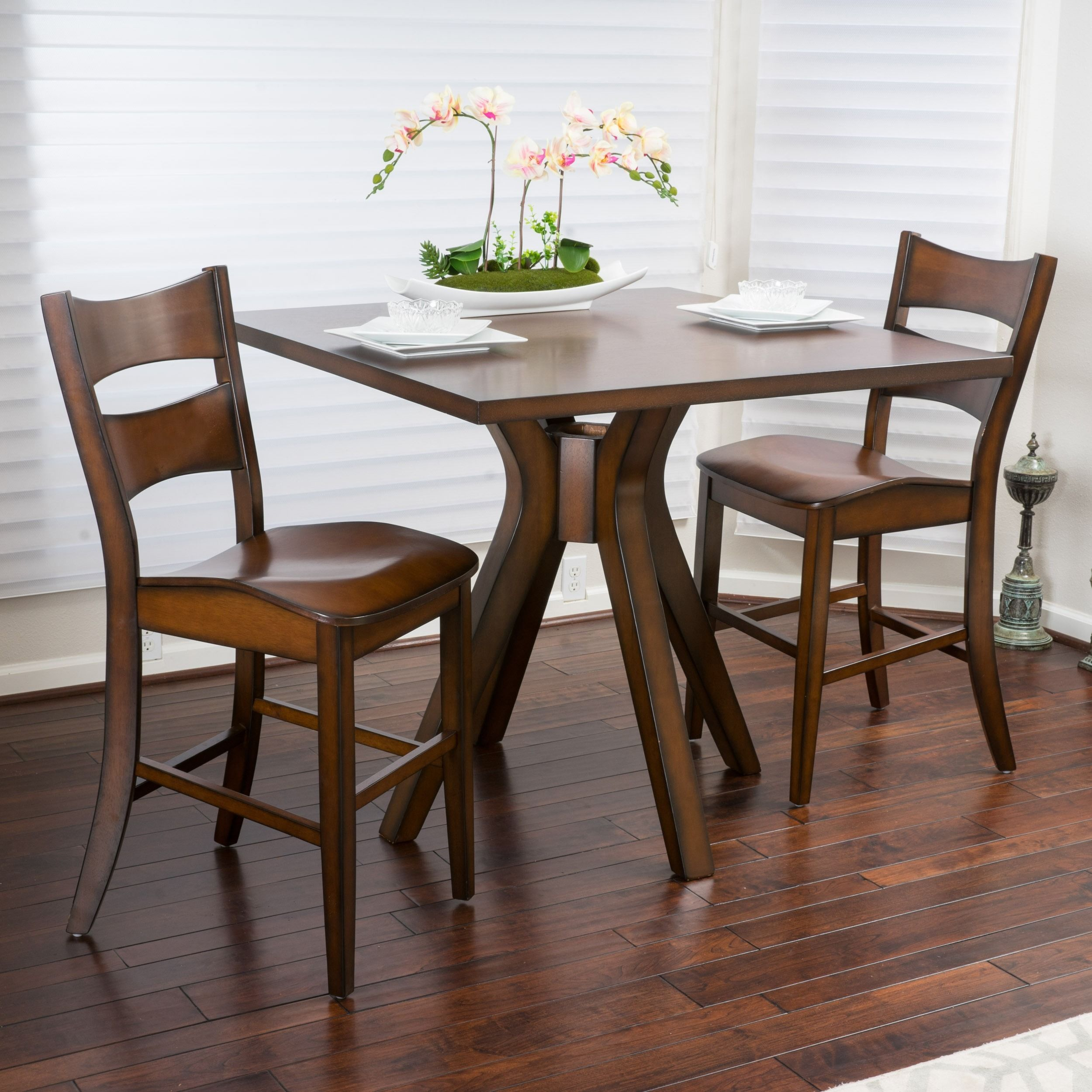 Tehama 3 piece Square Counter Height Wood Bistro Set by