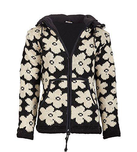 1c7bd5b1cd Goa Blumen Damen Nepal Strickjacke Poncho Pullover Wolle mit Fleecefutter  und abnehmbarer Kapuze Size/Größe