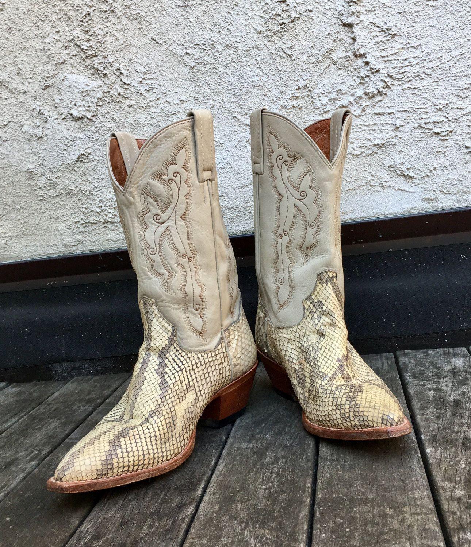 48a4c20b6b7 Vintage Ladies Size 7 Dan Post Snakeskin Cowboy Boots | Laarzen ...