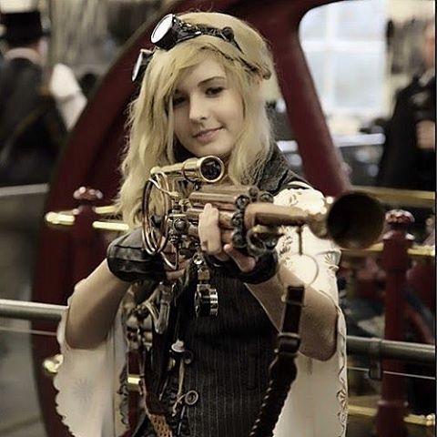 Steampunk Lover — Beauty with a gun  #steampunk #steampunklady...