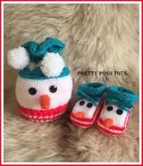 Snazzy snowman hat and bootee set