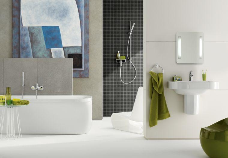 Colori Per Pareti Da Bagno : Sanitari da bagno in monoblocco di colore bianco piastrelle di