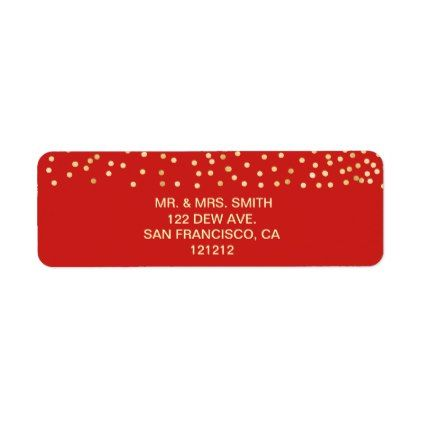 Festive Red Faux Gold Confetti Return Address Label Pinterest