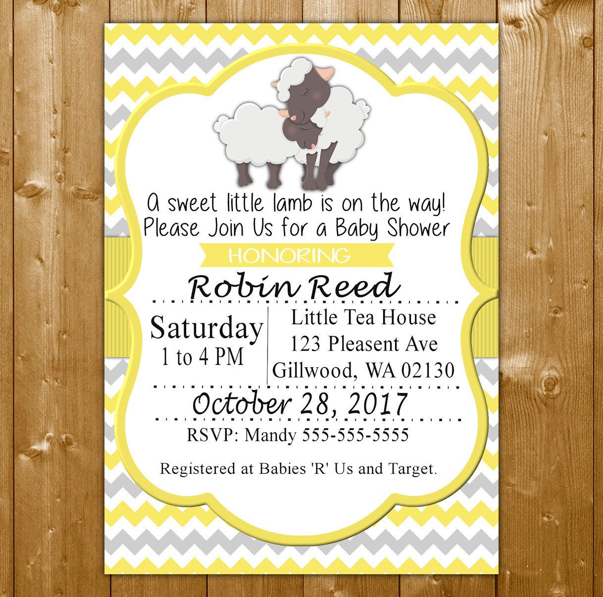 Lamb Baby Shower Invitation - Neutral Baby Shower Invitation ...