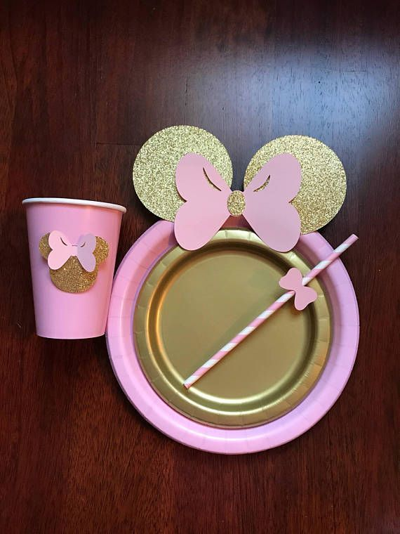 10 Light Pink Gold Glitter Minnie Mouse Birthday Table set plates straws cups 3d 10 Light Pink Gold Glitter Minnie Mouse Birthday Table set
